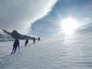 ski touring on outdoor leadership course